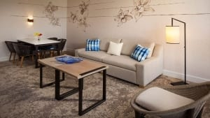 A photo of a sitting area in a Waikiki suite.