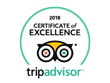 Trip Advisor 2018 Certificate of Excellence award.