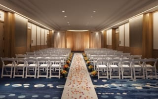 Waikiki indoor wedding ceremony setup.