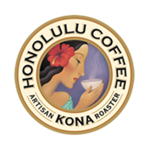 Honolulu Coffee logo. Text: Artisan Roaster. Kona.
