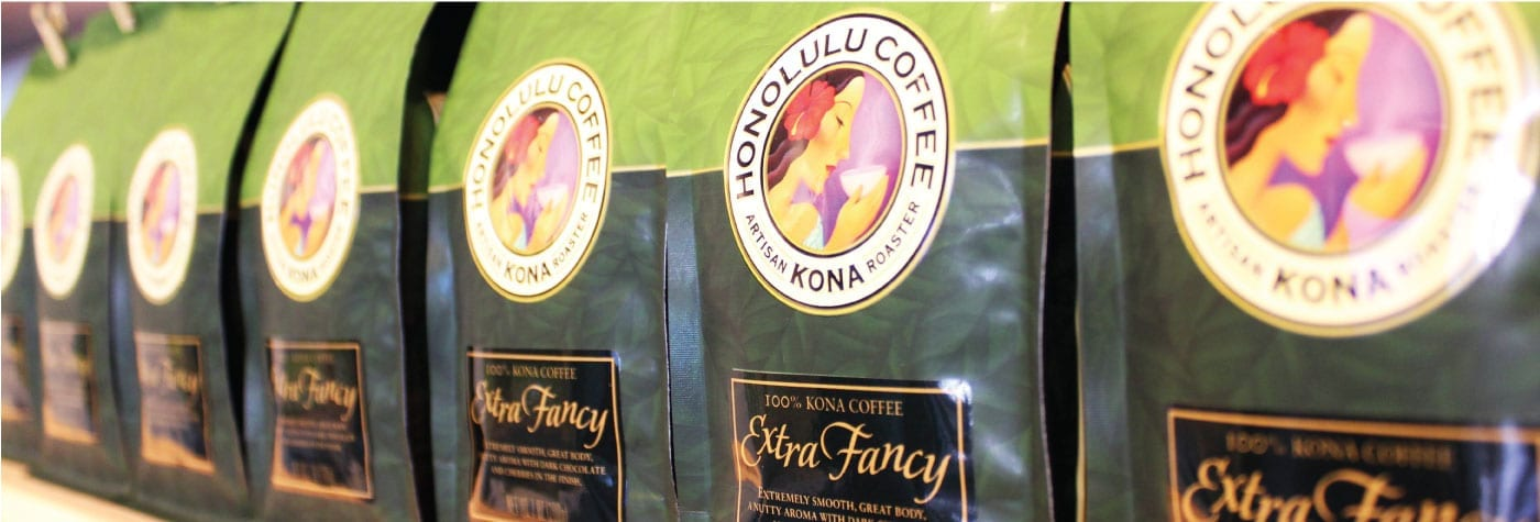 Honolulu Coffee bags close up.