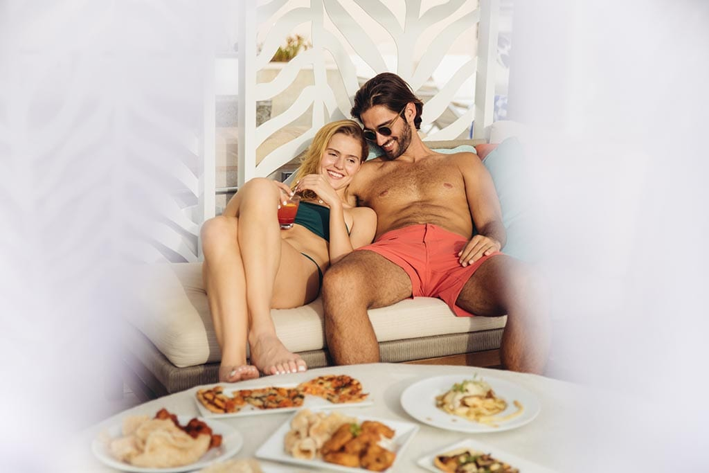Couple in a cabana.