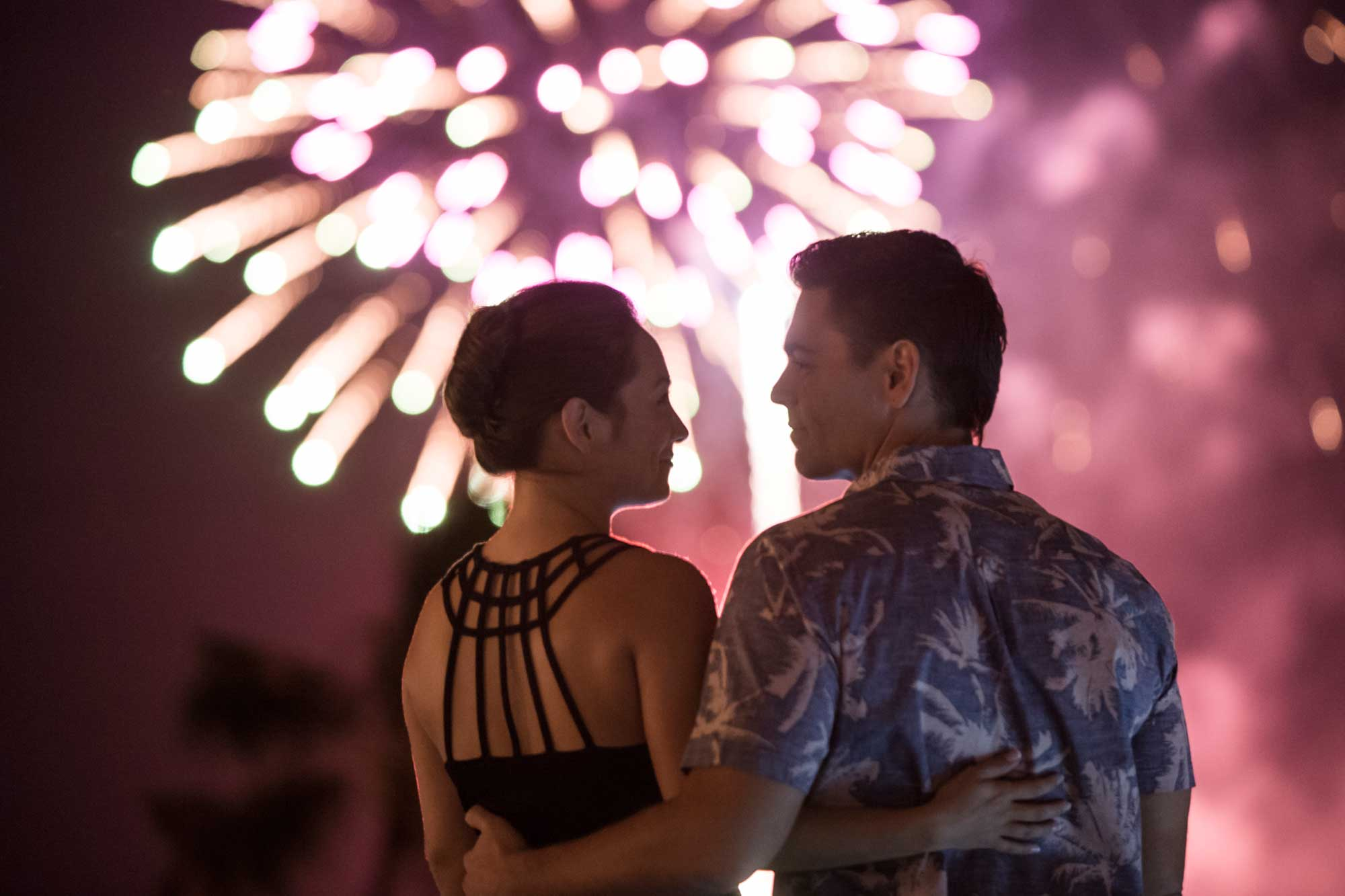 Couple watching fireworks.