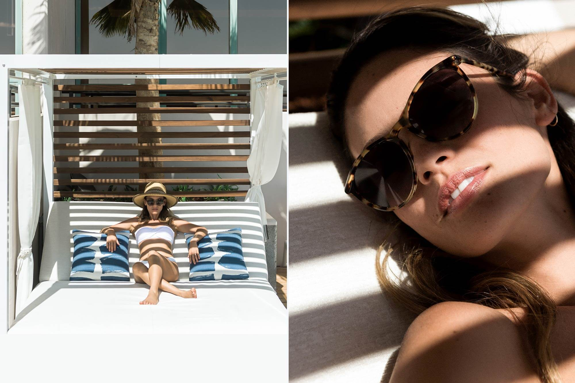Two images of a woman lounging in a cabana chair.