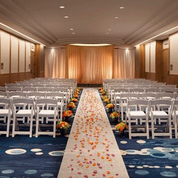 Waikiki meeting room setup for wedding ceremony.