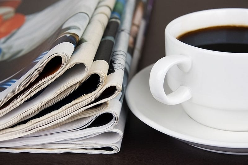 Coffee and newspapers.