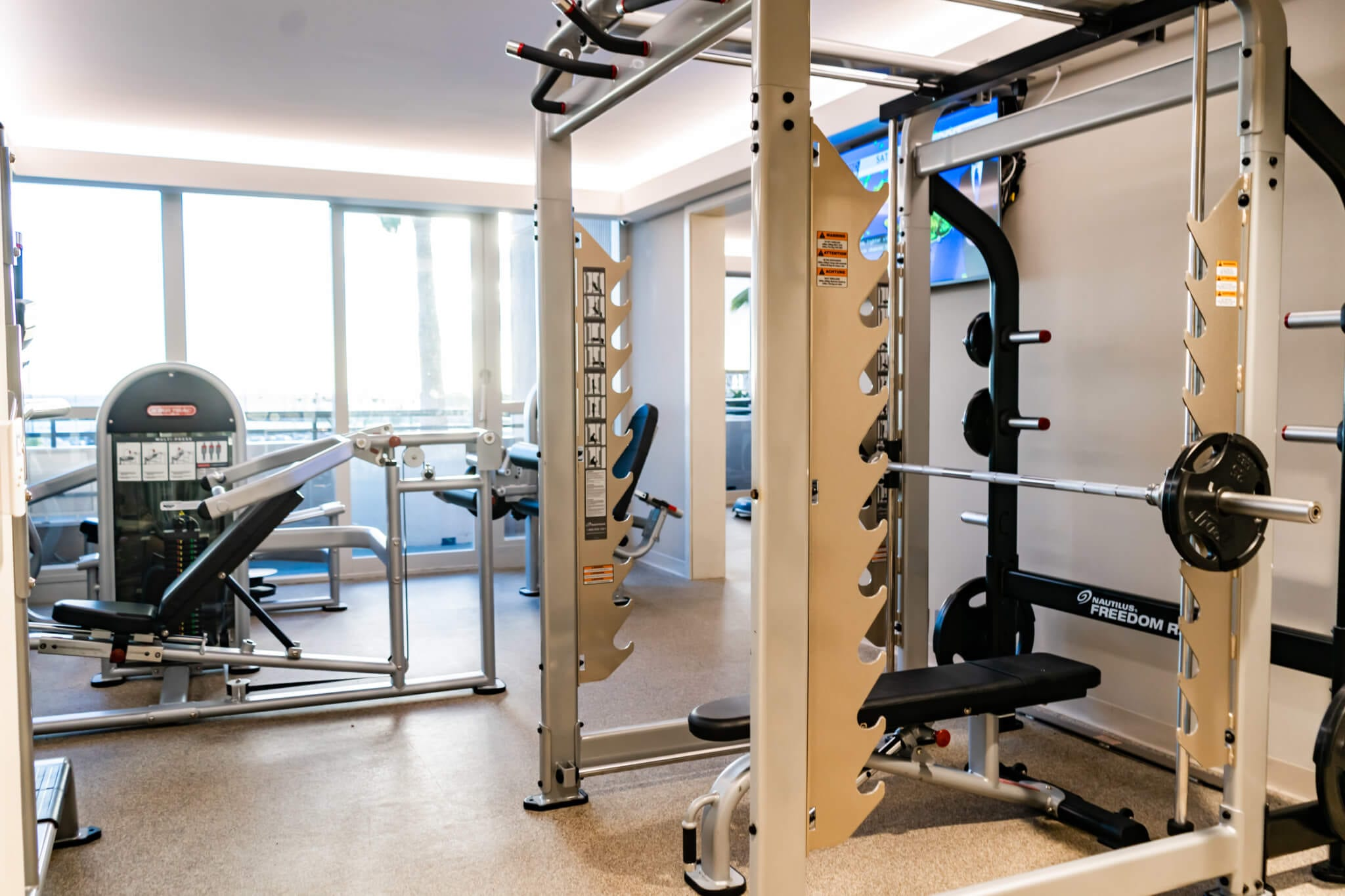 Fitness Facility - bikes, treadmills and weight benches.