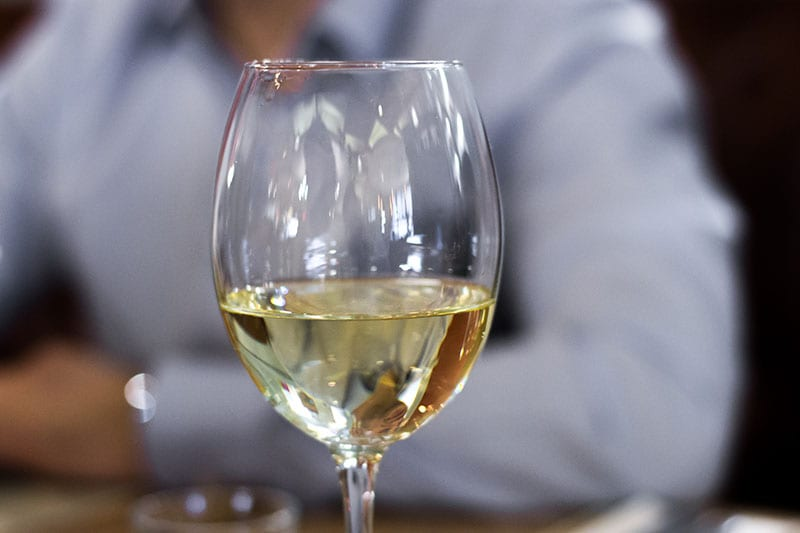 Close up of a glass of white wine.