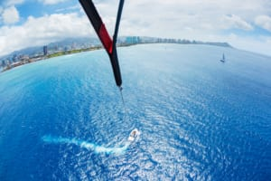 Photo of a Person Parasailing in Waikiki