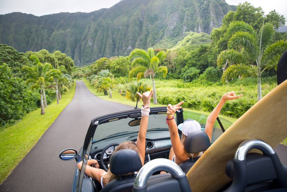 Photo of Two Women on a Scenic Drive around Oahu.