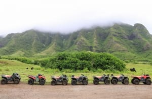 Photo of a Row of UTVs at Kualoa Ranch, a No-Brainer Locale for any Type of Oahu Itinerary.