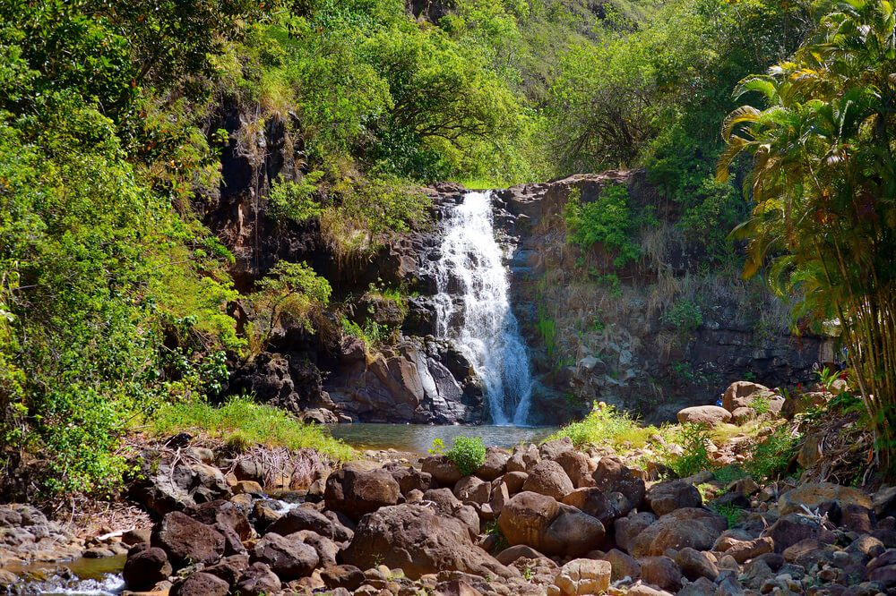 A photo of one of the best waterfalls in Hawaii found on Oahu.